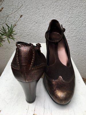 Högl Zapatos de tacón con barra en T marrón oscuro-color rosa dorado Cuero