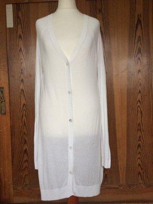 Sehr feiner, langer Cardigan, weiß, transparent