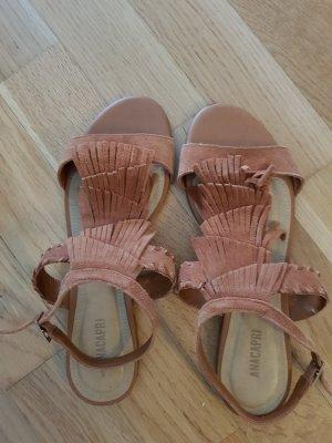Sandalo con tacco alto cognac Scamosciato