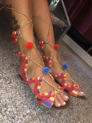 Schutz Strapped High-Heeled Sandals red