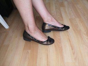 & other stories Ballerina di pelle verniciata nero-bronzo