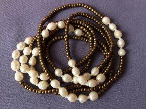 Collier de perles brun-jaune clair acrylique