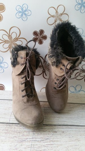 Lace-up Booties grey brown