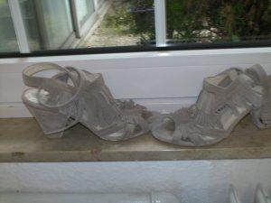 Zara Platform High-Heeled Sandal silver-colored leather