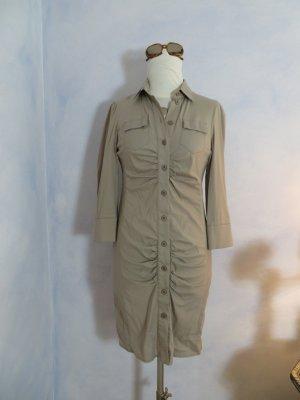 sehr schickes PATRIZIA PEPE Hemdkleid Grau Beige Kleid durchgeknöpft 3/4 Arm DE 36 S Herbstmode