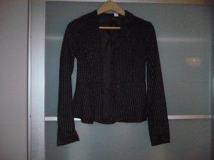 sehr schickes schwarzes Jacket mit weissen Nadelstreifen Grösse 34