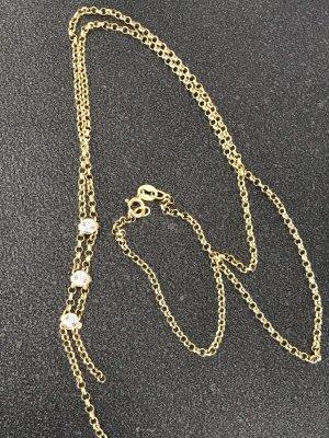 Sehr schön filigrane Echt Gold Kette Goldkette mit Steinchen