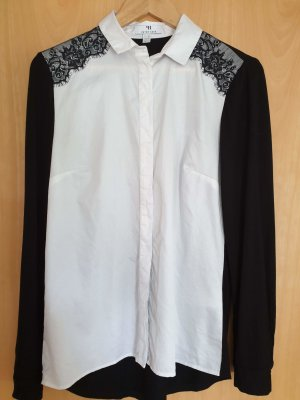 Peter Hahn Hemdblouse wit-zwart Gemengd weefsel