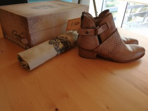 Zipper Booties sand brown leather