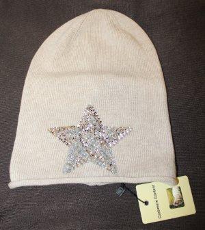 Sehr schöne  edle  Mütze in Beige mit Pailletten Stern mit Cashmere Kaschmir