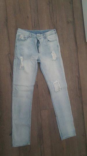 Pantalon boyfriend bleu azur