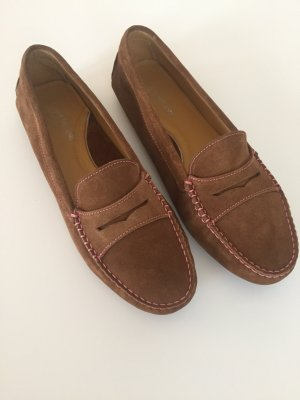 Moccasins brown-pink leather