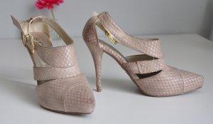 Sehr schöne rosa Sandalen mit Absatz und Riemen