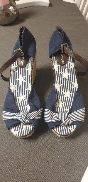 Plateauzool sandalen wit-donkerblauw