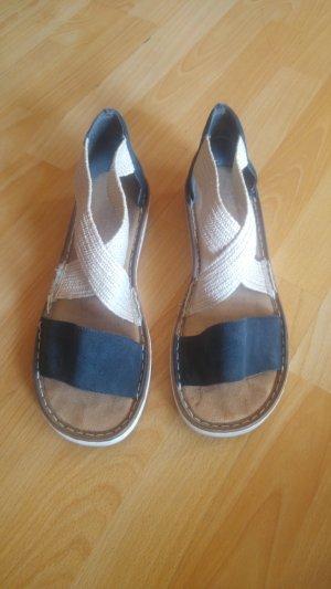 Rieker High-Heeled Sandals black-cream leather