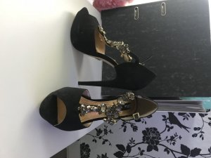 High Heel Sandal black-gold-colored