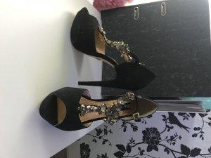 High Heel Sandal black-gold-colored