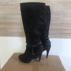 Botas de tacón alto negro-color plata