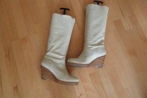 Sehr Schöne Stiefel von Shabbies Amsterdam Keilabsatz Beige Gr. 40