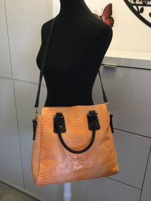 Carry Bag dark brown-neon orange leather