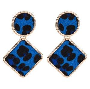"""Sehr Schöne Vintage Retro Statement Ohrringe Trend Leopard """"Blau"""" Hingucker!!"""