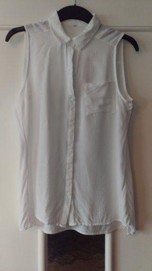 Sehr schöne weiße Bluse aus Baumwolle, ärmellos mit Kragen