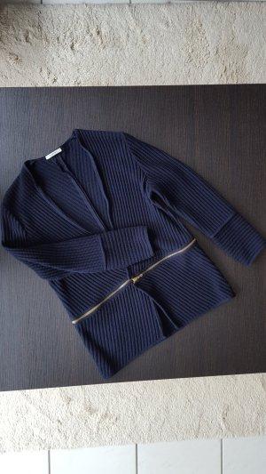 Devernois Gebreid vest donkerblauw Merinowol
