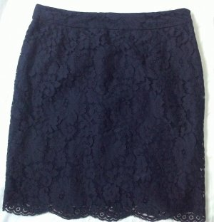 Massimo Dutti Lace Skirt dark blue cotton