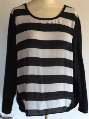 Sehr schöner Damen Pullover schwarz weißer gestreifter