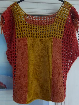 Sweater met korte mouwen rood-goud Oranje Katoen