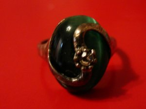 Statement Ring green-silver-colored