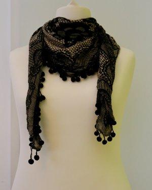 Sehr schöner Schal/ Tuch in schwarz-beige mit schönem Muster: Blumen...