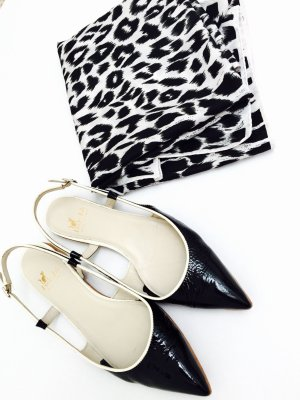High-Heeled Sandals black-white leather