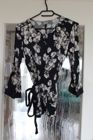 H&M Wraparound Blouse white-dark blue