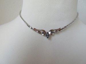 Sehr schönes Collier, 835er Silber, mit kleinen Saphiren
