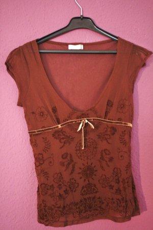 Sehr schönes dunkelbraunes durchsichtiges T-Shirt mit Blumenornament