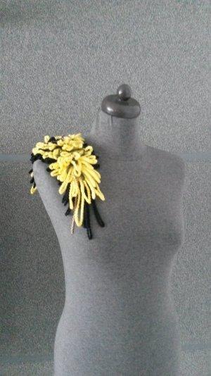 Broche jaune-noir coton