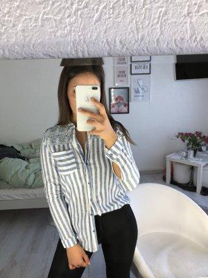 Camisa de manga larga blanco-azul bebé