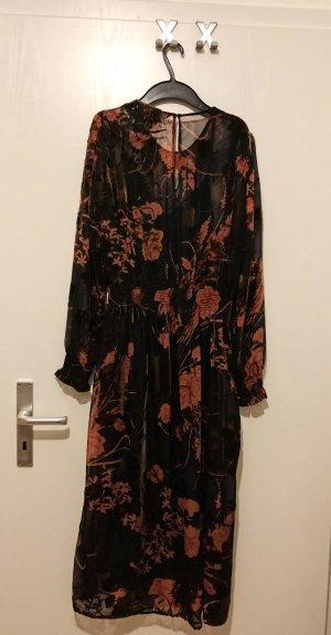 Zara Vestido a media pierna negro-bermejo