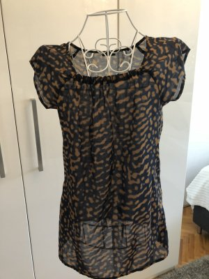 esprit collection Blouse topje camel-donkerblauw