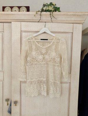 Zara Top de encaje blanco puro-crema