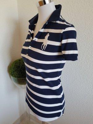 Sehr schönes Shirt von Ralph Lauren Größe S dunkelblau-weiß mit big Pony Neuwertig!