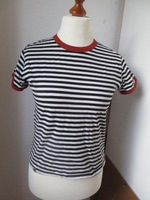 mbyM Stripe Shirt black-dark orange cotton