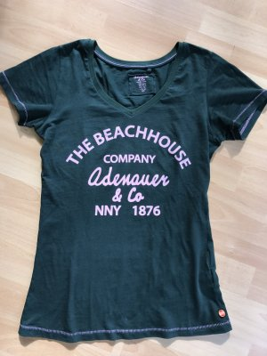Adenauer & Co T-Shirt forest green-pink cotton