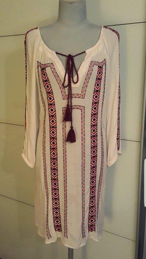 Robe Hippie blanc cassé-rouge foncé