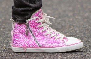 Sehr stylische Sneaker pink mit Pailletten von Guess Gr. 36 super Zustand
