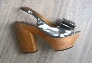 Lanvin Clog Sandals silver-colored-light brown leather