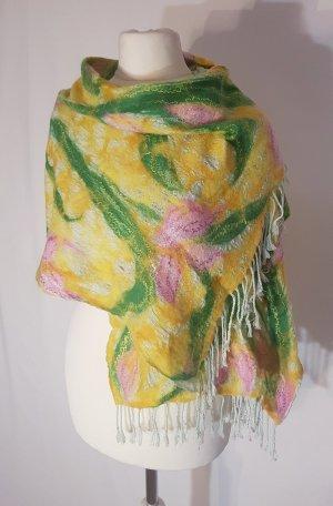 Sehr weicher Schal mit wunderschönem Blumenmuster Unikat Merinowolle Seide gelb mintgrün rosa Einzelstück neu