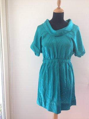 Seide Baumwolle Kleid Wasserfall Kragen Schlupfkleid mit Gummibund Satin edel glänzend türkis Sommer
