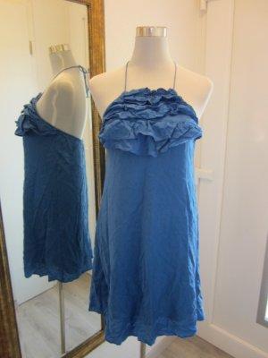 Seide Kleid Neckholder Royalblau Gr M #Zara
